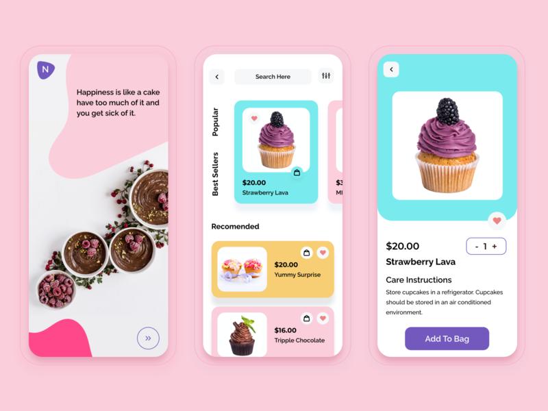 Cake shops mobile app cake ui design uiux ui design typography vector illustration minimal cards ui branding app