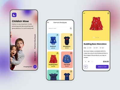 Kids Boutique App online boutique boutique kids fashion kids app ux design branding app