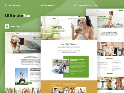 UltimateYou - Health Coach Elementor Template Kit wellness responsive recipes personal trainer nutrition mentor lifestyle holistic healthy living health coach health dietitian coaching