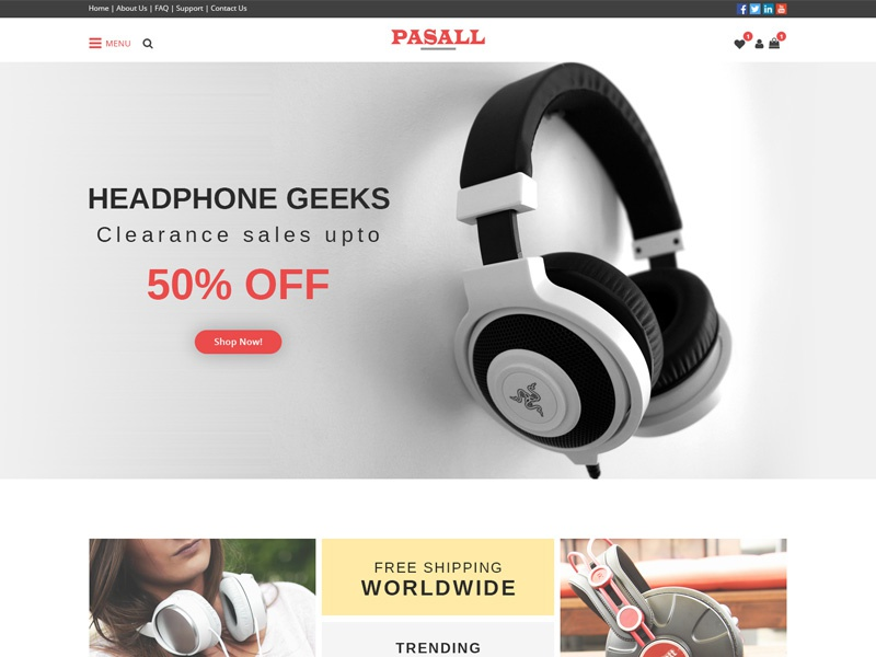 Pasall - A modern eCommerce PSD template clean headphone shop woocommerce modern shop online shoping ecommerce shop