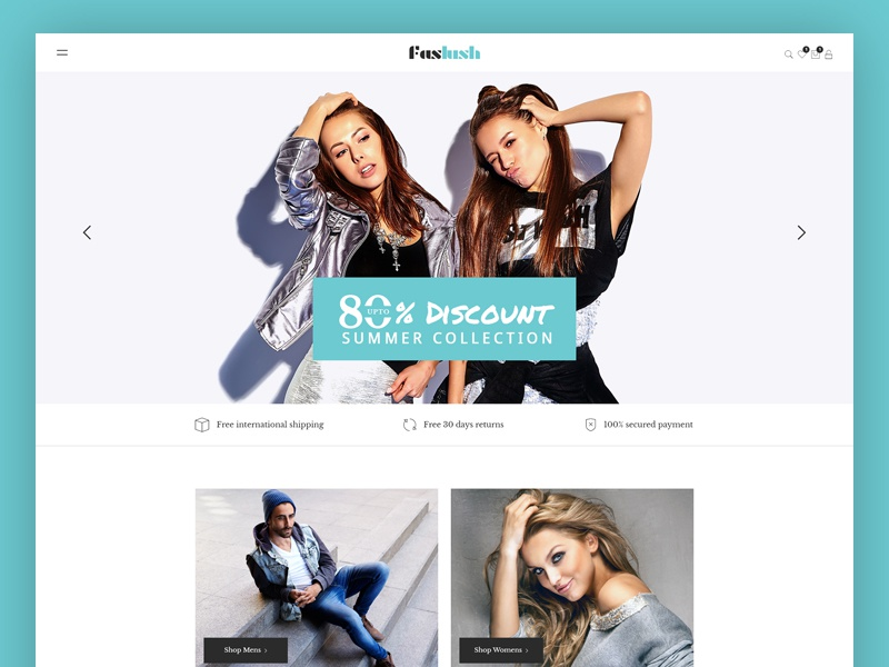 Faslush - A Modern & Minimalistic eCommerce PSD Template woocommerce psd template online store online shop minimal fashion template fashion store fashion boutique fashion elegant ecommerce clothing