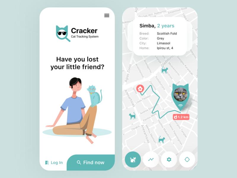 Cracker – Cat Tracker Application cat picker street map menu search cards app design minimalistic clean app light