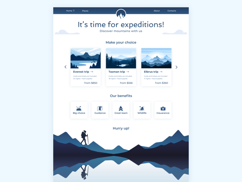 Expeditions adventure travel chooser icon set whitespace illustrations menubar price dark blue card design hiking mountains light minimalistic clean