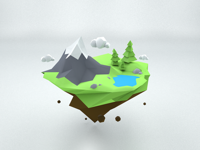 Piece of world cinema4d clouds trees lake mountain modeling 3d