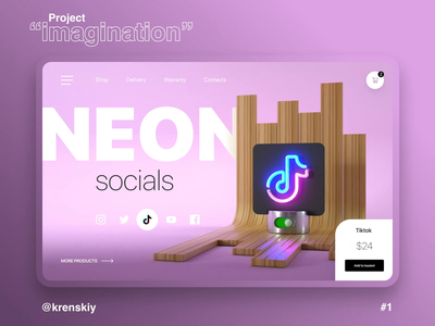 Neon singns shop daily challenge ux design uiux challenge landing dailyui animation web-design ui