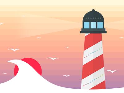 lighthouse on sunset sea flat sun lighthouse sunset