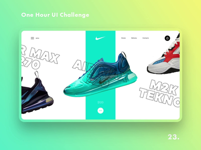 One Hour UI Challenge - 23. - Nike animation e-commerce slider site shop daily challange promo daily challenge ux uiux design landing challenge dailyui web-design ui nike air max nike air nike