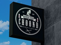 Choond Barber Shop signage barbershop vintage logo design