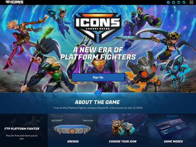 Icons Combat Arena Website gaming website game games