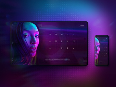Pop Culture neon colors clean homepage hero webdesign dailyux model purple pink blue abstract neon website design mockup ux layout content ui web