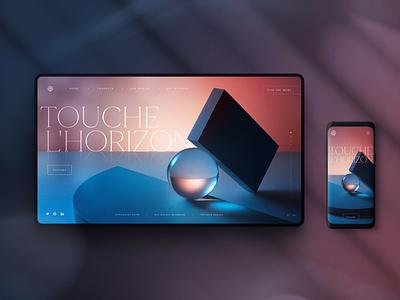 Touche L'Horizon geometric ux  ui concept landingpage interface uxui uxdesign ux design pink blue 3d layout content ux ui website web