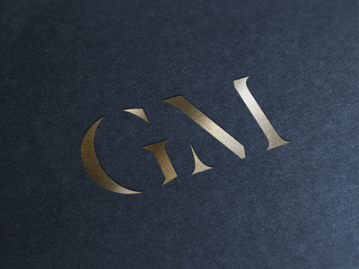 Personal Lettermark initials m g embossed mockup gold foil caps stencil letter brand logo