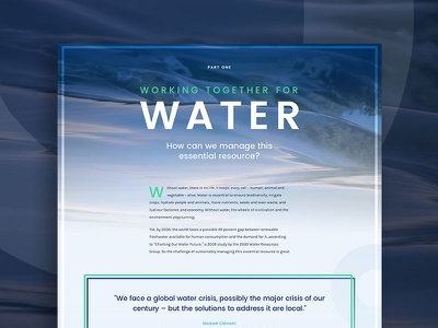 Water layout ux web header hero flow sustainability blue sea river water