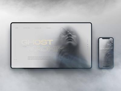 Ghost in the Machine machine ghost moody fog smoke mist article website mockup digitalart animation webdesign landingpage layout uiux ui web