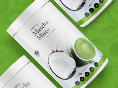 Packaging Design for WithinUs collagen matcha packaging vancouver design branding