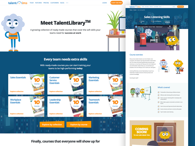 Online courses library design illustration website desktop online course library