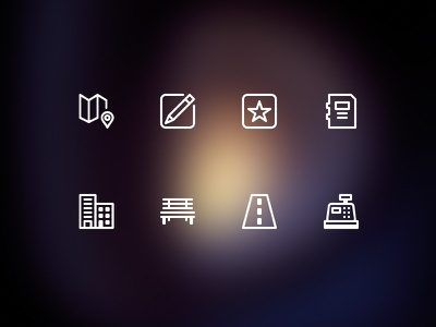 Icons for city service site service icons star pencil map pin building cashdesk road info bench write