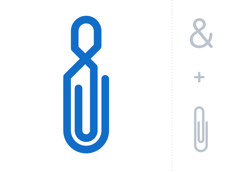 Ampersand + Clip ampersand clip idea single object typo typography icon sign
