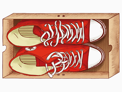 Red Keds for Red Monkey red white business card keds converse box inside illustration