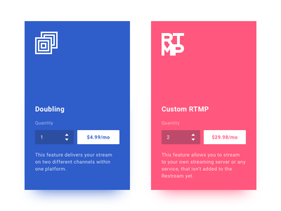 Restream feature blocks icons streaming pricing features restream