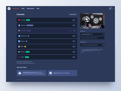 Restream Dashboard panel broadcasting streaming channels dashboard restream