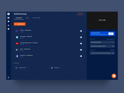 Restream Dashboard v5. Before & After platforms streaming ui animation dashboard restream