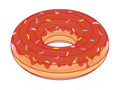 'O' letter for 'Awesome Letter on the T-shirt' o letter t-shirt doughnut illustration technical illustrator