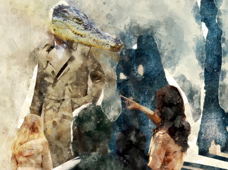"Illustration for Chucovsky's poem ""crocodile"" painting illustration"