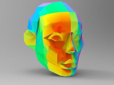 Low poly head polyart design illustration logo 3d 3d modeling yekaterinburg 3d art