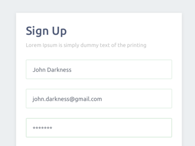 Form Sign Up Account login account signup form