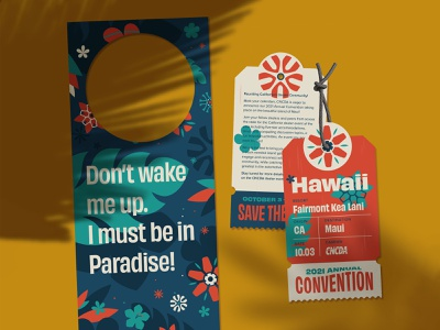 CNCDA Convention Branding | Luggage tag invite and door hanger floral flowers event branding convention door hanger plane ticket luggage tag hawaii