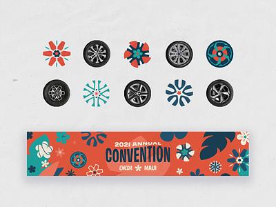 Wheels n Flowers | Event Brand Elements | CNCDA Convention event branding convention tires wheels rims hawaii