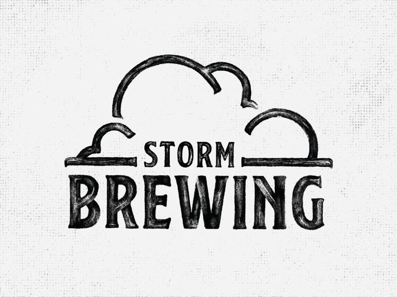 Storm Brewing | Logo cloud serifs rustic pencil texture brew logo brewing company pun storm brewing storm brewing