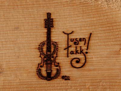 Tusen Takk! hardanger fiddle hardanger fiddle violin woodgrain woodburning illustration