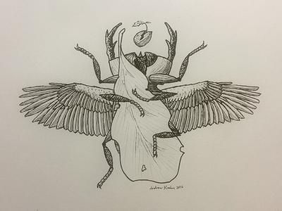 Chitinous Psychopomp hand-drawn wings illustration rebirth death ink psychopomp beetle