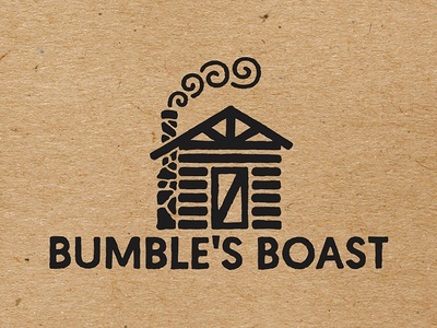 Bumbles Boast black and white silhouette roaster geomanist cabin rustic stamp logo coffee