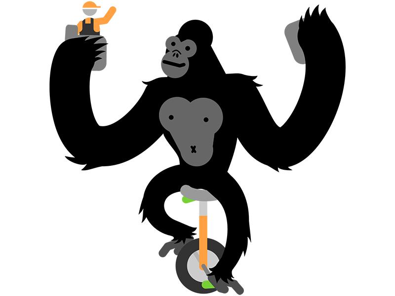 Gently-Rolling Giant king kong minimal vector unicycle worker gorilla