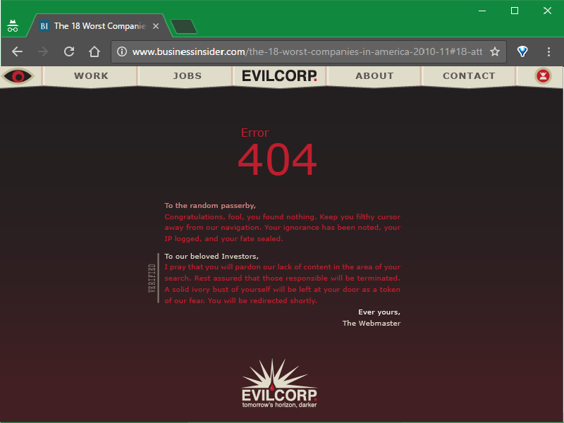 DailyUI 008 Evilcorp 404 008 screenshot faux copy corporate evil 404 day008 dailyui
