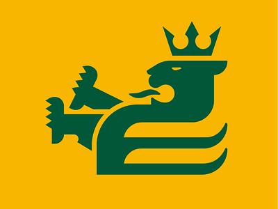 Lion yellow green crown monogram animal lion