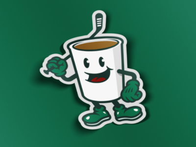 Hockey Cup sticker character stick hockey stick coffee cup ice hockey hockey