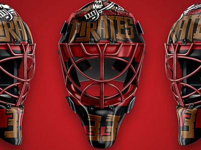 Goon Dock Pirates sports pirates goon dock mask design ice hockey goalie mask goalie
