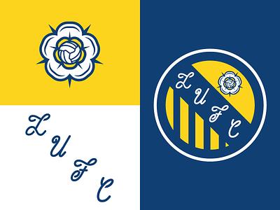 LUFC yorkshire rose leeds yellow blue white ball lufc soccer football