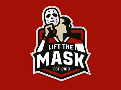Lift The Mask logo hockey goalie masks ice hockey logosdesign sports