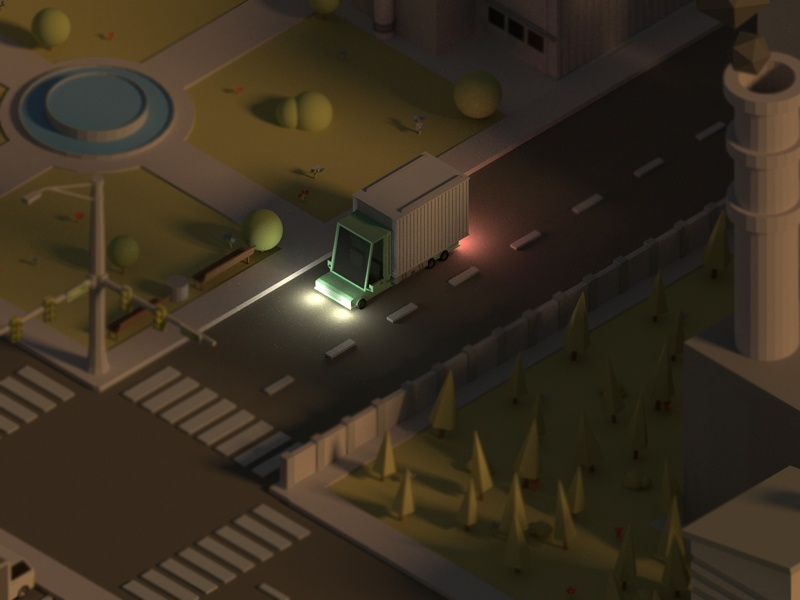 Car in Night City truck road building car wip city blender isometric poly low model 3d