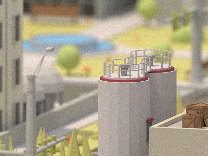 City Blur Shot #1 3d model blender isometric low poly city car building factory vehicle