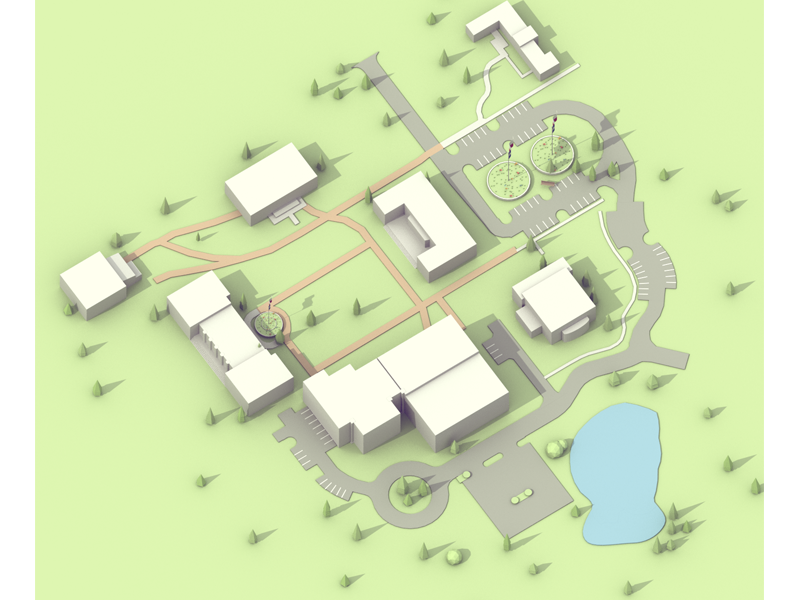 School Map #2 low poly low poly isometric 3d model blender city building scene school map