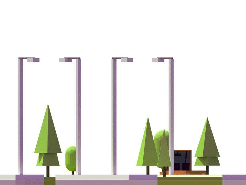 WIP vehicle parking 3d isometric poly low low poly nature road street tree car