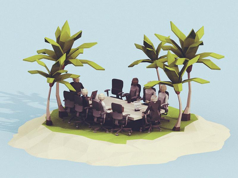 Beach Meeting nature palm tree tree sea ocean water low poly isometric office 3d meeting beach