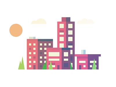 Trying out Illustrator 3d vector landscape sky urban building tree illustrator illustration city isometric 2d