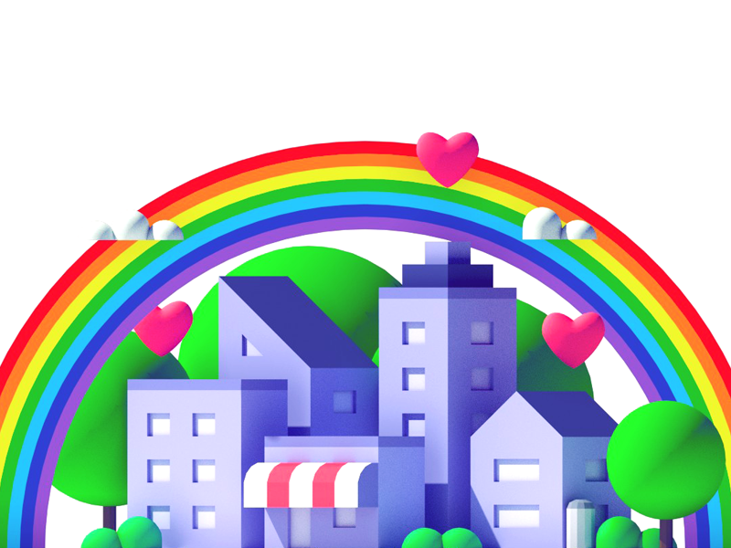 Happy Town - 2D to 3D Collaboration collaboration blender urban rainbow building collab model low poly isometric 3d city town